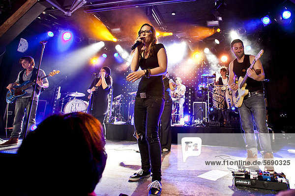 Swiss singer Stefanie Heinzmann and her band performing live in the Schueuer concert hall  Lucerne  Switzerland  Europe