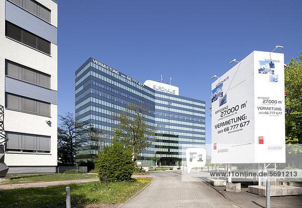 Bürogebäude Eurohaus  Bürostadt Niederrad  Frankfurt am Main  Hessen  Deutschland  Europa  ÖffentlicherGrund