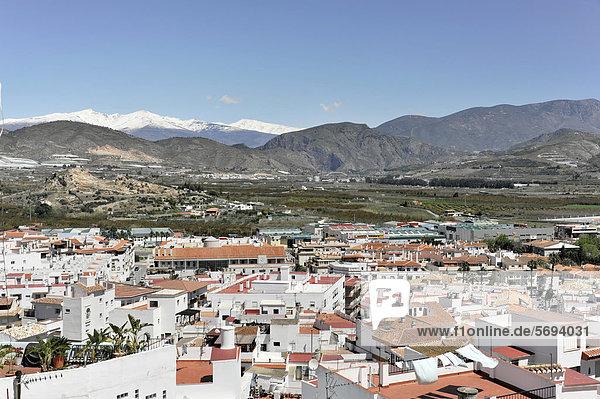 Salobrena  Sierra Nevada at back  Costa del Sol  Andalusia  Spain  Europe