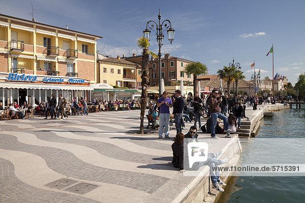 Waterfront  promenade  Lazise  Lake Garda  Veneto  Italy  Europe  PublicGround