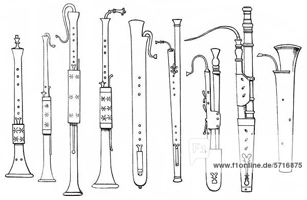 Historical Drawing Various Forms Of Old Brass Instruments Trombone Trumpet War Trumpet