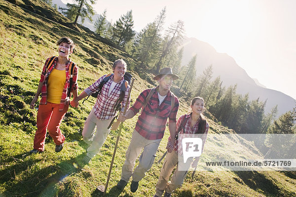 Österreich  Salzburger Land  Männer und Frauen beim Wandern auf der Alm
