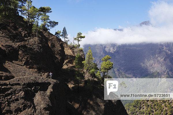 Spanien  La  Palma  Reife Frau beim Wandern im Nationalpark Caldera de Taburiente