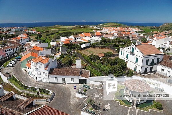 The parish of Ribeirinha  as seen from the top of the church tower Sao Miguel island  Azores  Portugal