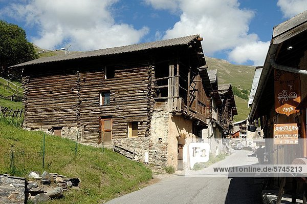 Traditional Wooden Houses at Saint-Véran Queyras Hautes-Alpes French Alps France