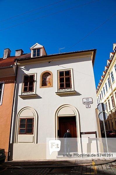 Zagreb Hauptstadt Europa Gebäude Stadt Quadrat Quadrate quadratisch quadratisches quadratischer Kroatien alt