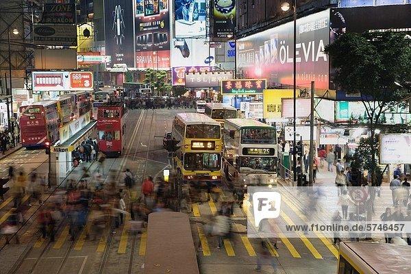 überqueren  Nacht  Straße  Fußgänger  China  Hongkong