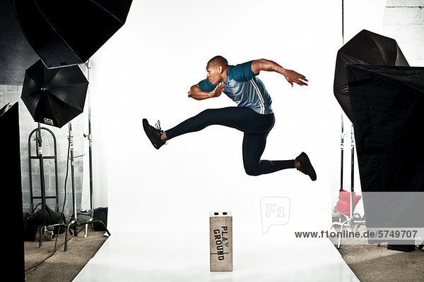 Athlete at photo shoot  jumping