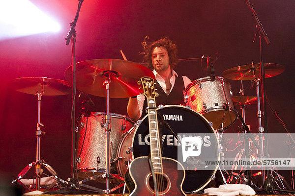 Simon Ramseier  drummer of the Swiss pop band Lovebugs playing live at the Soundcheck Open Air in Sempach-Neuenkirch  Lucerne  Switzerland  Europe