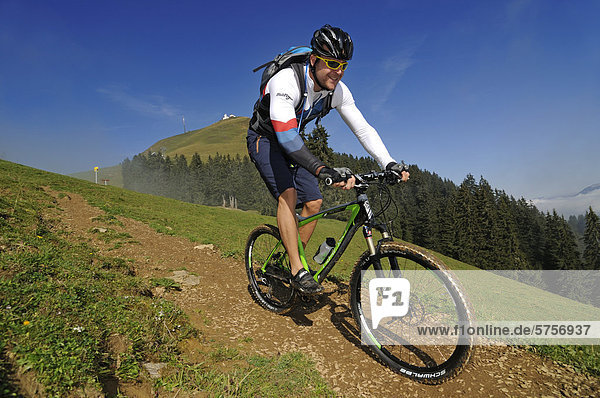 Mountain biker  Mt Hohe Salve  Kitzbuehel Alps  Tyrol  Austria  Europe