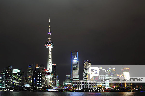 China Huangpu Fluß Asien Oriental Pearl Tower Shanghai