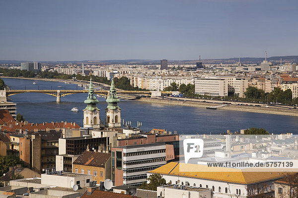 Budapest skyline and the Danube river  Hungary  Europe