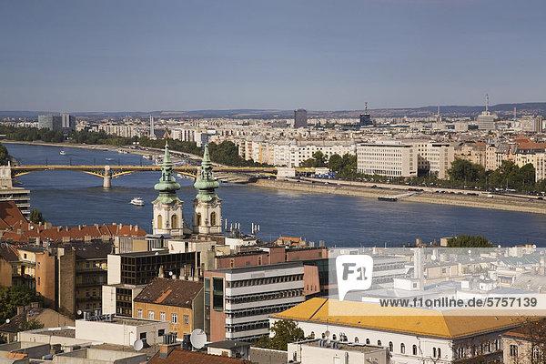 Budapest Hauptstadt Skyline Skylines Europa Fluss Donau Ungarn