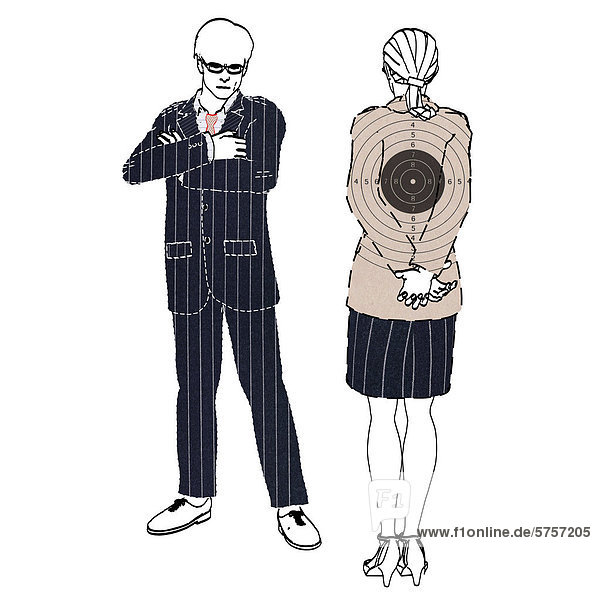 Colleague looking down on co-worker as a target,  symbolic image for bullying,  illustration