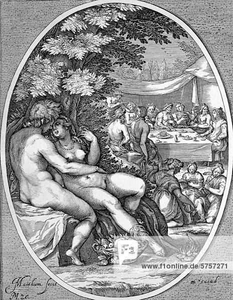 Die Liebe  symbolische Darstellung der sinnlichen Freuden  holländischer Kupferstich  J. Matham  um 1600