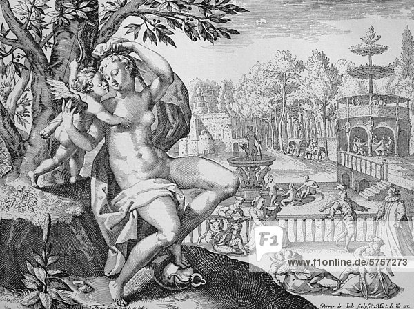 Die Freuden der Venus  Kupferstich von Gerhard de Jode  17. Jahrhundert