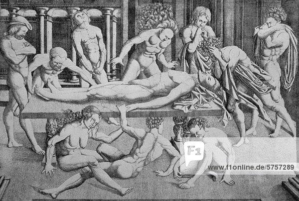 Der Tod des Helden  Kupferstich nach einem Gemälde von Mantegna