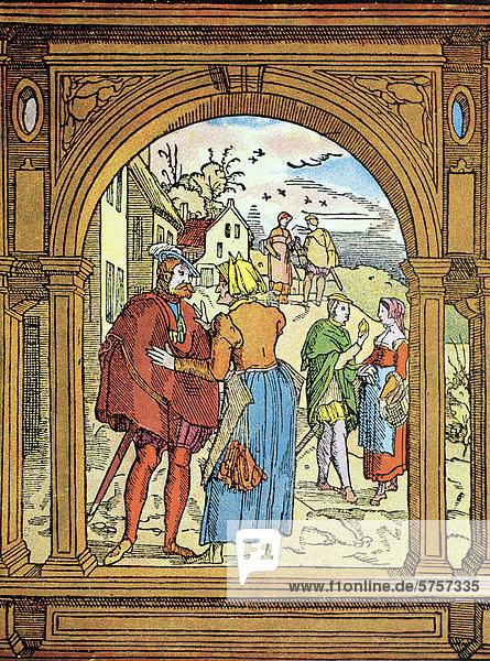 Illustration zu dem Abschnitt über Kuppler und Kupplerinnen in einem französischen Gesetzbuch aus dem 16. Jahrhundert