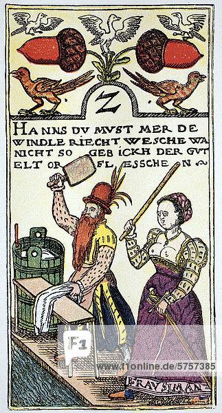 Spielkartendarstellung von einem Wiener Meister  16. Jahrhundert