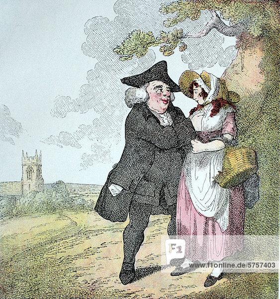 Der Gefühlsmensch  ironischer englischer Kupferstich  1795