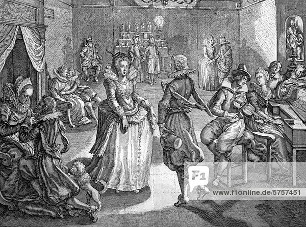 Tanzvergnügen  französischer Kupferstich  17. Jahrhundert