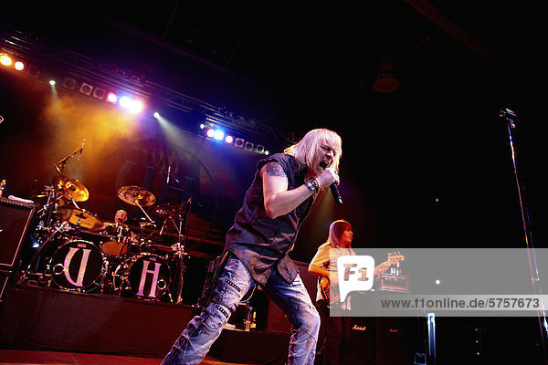 'Bernie Shaw  lead singer of the rock band ''Uriah Heep'' at a concert in Sporthalle Oberwerth  Koblenz  Rhineland-Palatinate  Germany  Europe'