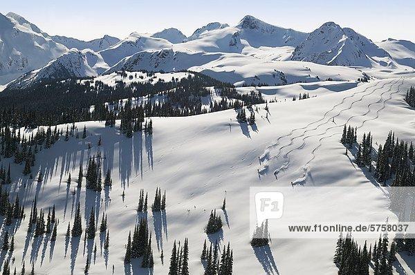 Luftbild der Skifahrer in Flöte Schüssel  Whistler Mountain  British Columbia  Kanada.