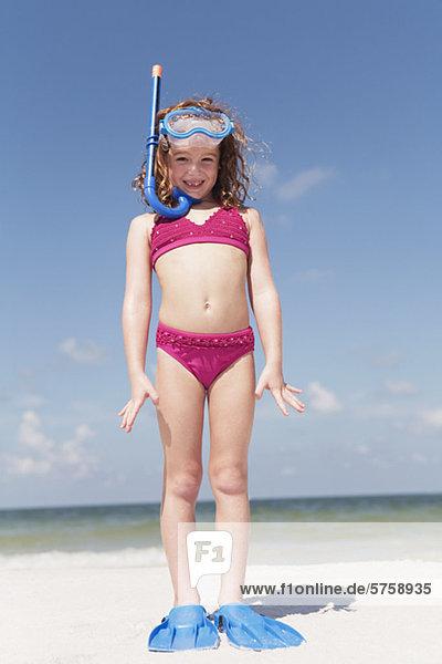 Strand  Gerät  schnorcheln  Kleidung  Mädchen