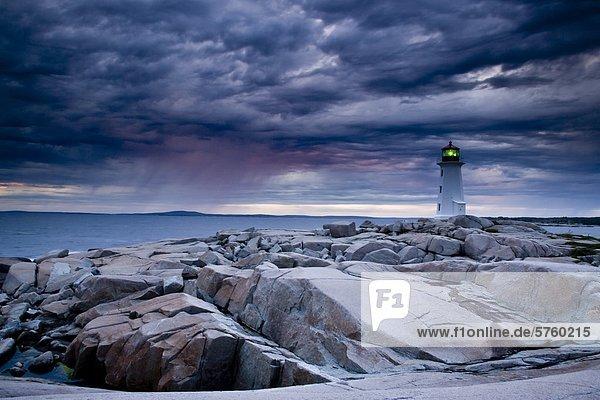 Sturm Leuchtturm nähern Gewölbe Kanada Nova Scotia Neuschottland