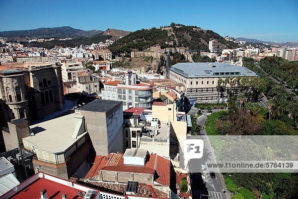 Aerial view from the Malaga Palacio hotel in the center of Malaga  Spain