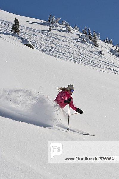 Junge Frau Skifahren nicht aufgezeichnete Pulver in Mustang Pulver Catski  British Columbia  Kanada.