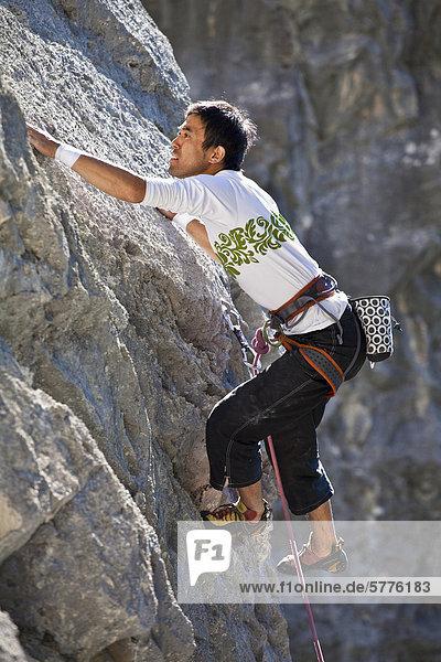 Ein männlicher Rockclimber Klettern am Echo Canyon  Canmore  Alberta  Kanada