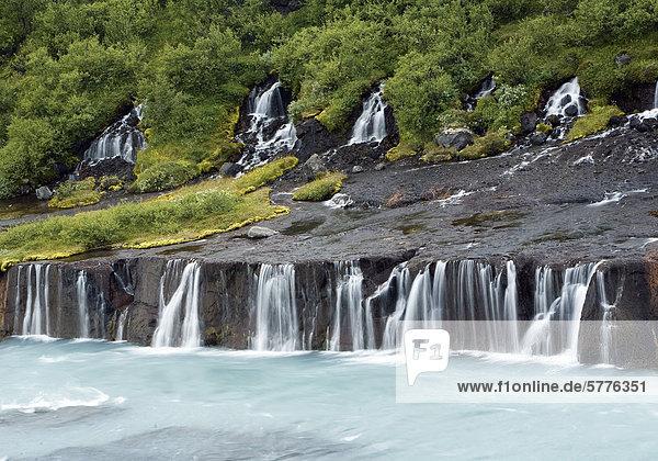 Island  Westen  Hraunfoss Wasserfall Island, Westen, Hraunfoss Wasserfall