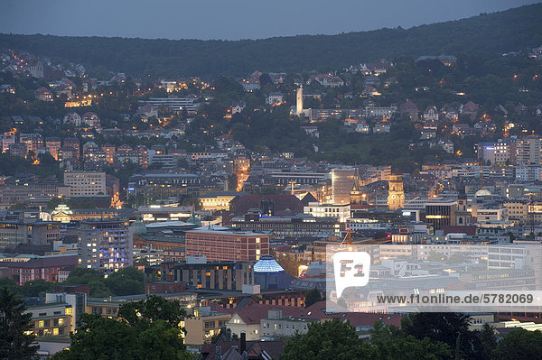 View of the city in the blue hour in the evening  Stuttgart  Baden-Wuerttemberg  Germany  Europe