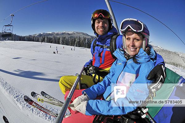 Skiers at Winklmoos-Alm  skiing region  Reit im Winkl  Chiemgau region  Bavaria  Germany  Europe