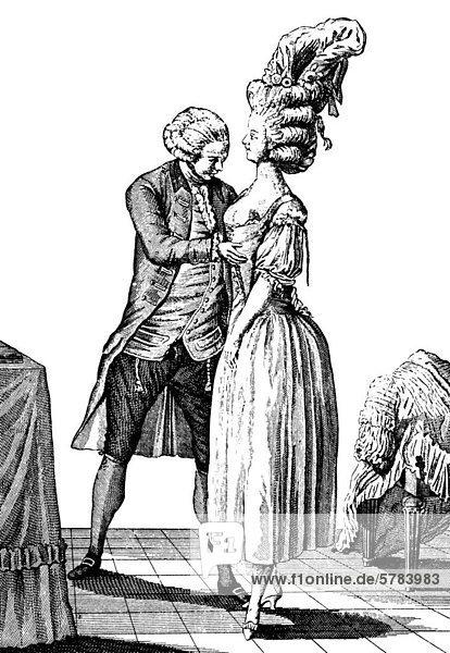 Beim Damenschneider  Augsburger Modekupfer  18. Jahrhundert