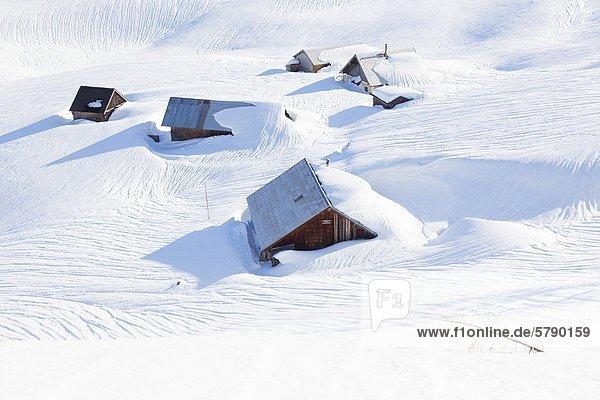 Verschneite Almhütten am Gosaukamm  Österreich