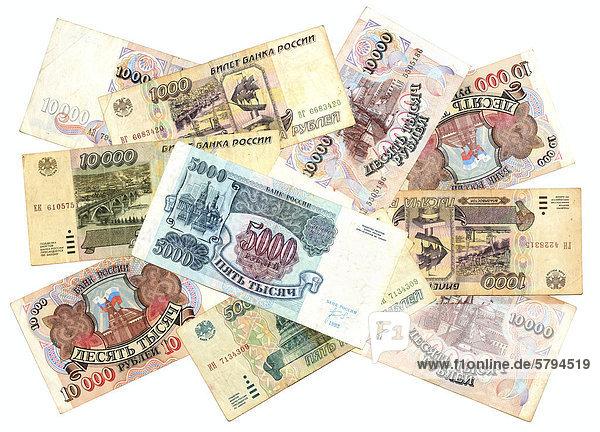 Historische Banknoten aus Russland  Rubel  1992 - 1995