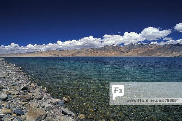Ufer  hochgelegener Bergsee Tso Moriri oder Tsomoriri  Changtang oder Changthang  Ladakh  indischer Himalaya  Jammu und Kaschmir  Nordindien  Indien  Asien