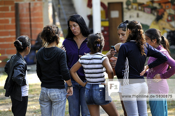 'In a group of girls topics such as ''sexuality'' and ''domestic violence'' are addressed  organisation ''El Culebron Timbal'' Cuartel V  Moreno  Buenos Aires  Argentina  South America'