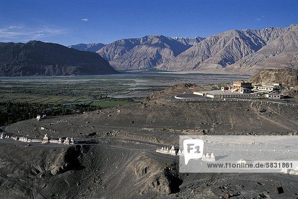 Chorten at Deskit or Diskit Monastery  gompa  Hunder  Nubra Valley  Ladakh  Jammu and Kashmir  Indian Himalayas  North India  India  Asia