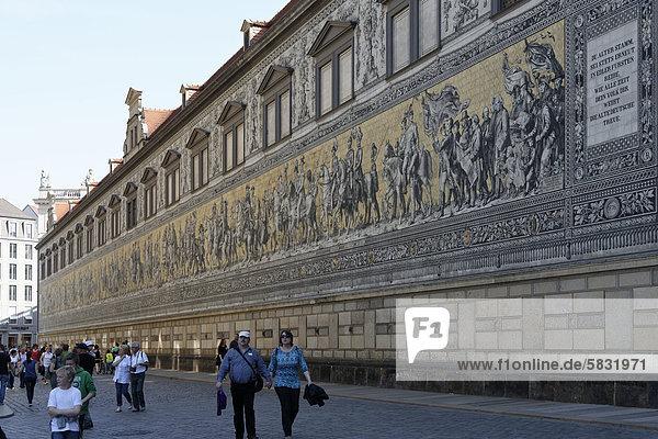 Fürstenzug  Schlossstraße  Dresden  Sachsen  Deutschland  Europa