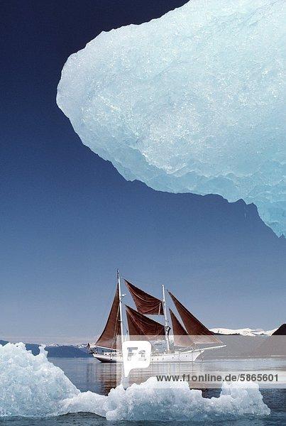 Schoner Varua in der Nähe eines Eisbergs  Südost-Alaska