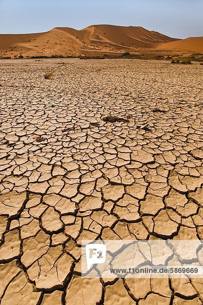 Trockene Tonpfanne  Sossusvlei  Namib-Naukluft-Nationalpark  Namibia