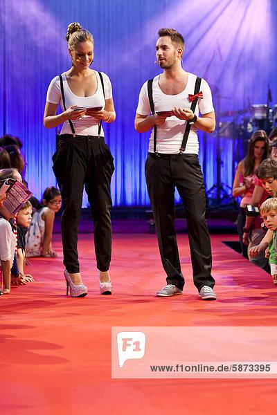 Presenters Sabrina Knechtli  runner up of the Miss Switzerland 2007-2008 competition and Damian Betschart of Radio Pilatus  Miss Zentralschweiz 2012 competition  Miss Central Switzerland  at Railcity  Lucerne station  Switzerland  Europe
