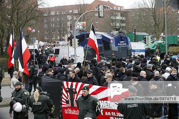 Demonstration gegen einen Aufmarsch rechter Gruppen  Neonazis  in Münster  Westfalen  Nordrhein-Westfalen  Deutschland  Europa