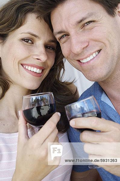 Portrait  halten  jung  Weinglas