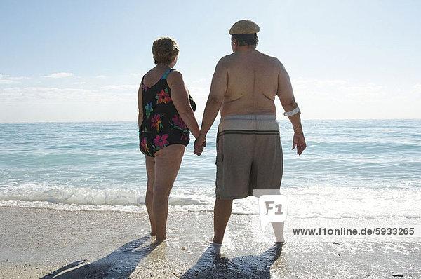 stehend  Strand  halten  reifer Erwachsene  reife Erwachsene  Rückansicht  Ansicht