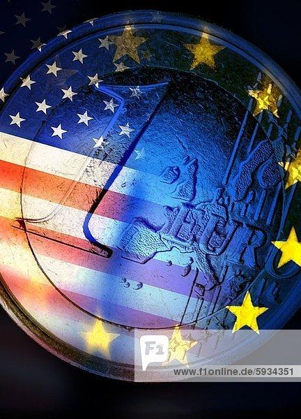 Europa  europäisch  Einheit  Close-up  close-ups  close up  close ups  Fahne  amerikanisch  Geldmünze  Gewerkschaft
