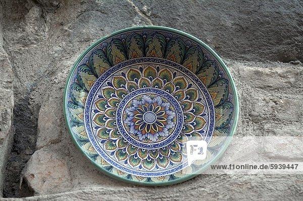 hoch,  oben , nahe , Felsbrocken , Keramik , Italien , Umbrien